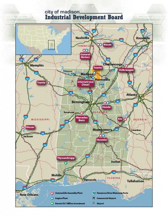 Southeastern Automotive Industry Locations